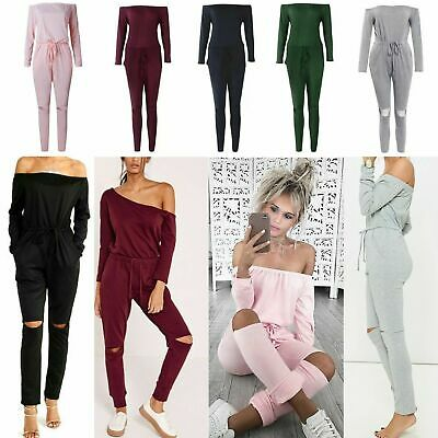 5128a1a419 UK Womens One Off Shoulder Ripped Knee Trousers Clubwear Ladies Party  Jumpsuits