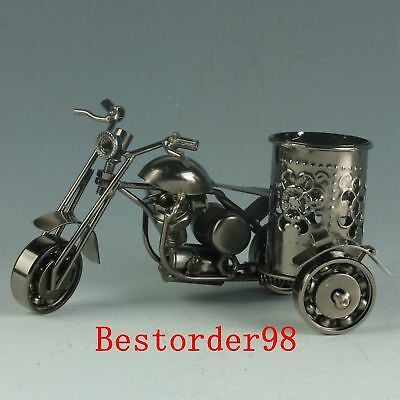 Chinese Exquisite Alloy Handwork Carved Motorcycle Model Brush Pot CC0413