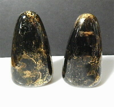 Sascha Brastoff SURF BALLET Black/Gold Salt & Pepper Shakers