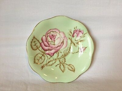 Foley Bone China Saucer Green With Pink Thorn Roses