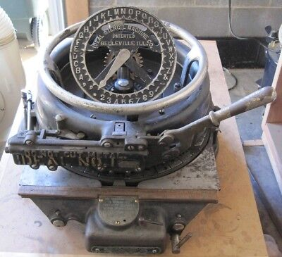 Antique Ideal No. 1 Stencil Cutting Machine, WWI, Vintage, Cast Iron