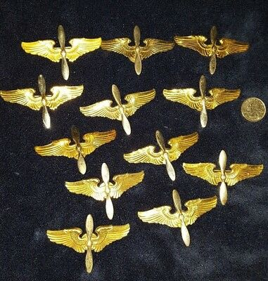 WW2 US Lot of 12 Army Air Corp Cadet Badges Variants Sterling Pins #391