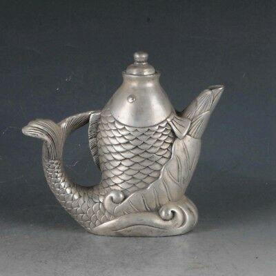 Chinese Silvering Copper Fish Teapot Made During The Kangxi Six Year BT0004`