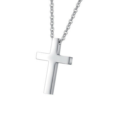 Simple Cross Pendant For Kids Boys Girls Stainless Steel Small Necklace Silver