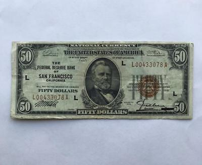 Ungraded 50$ Bill..San Francisco, Series of 1929.!! NR.!!