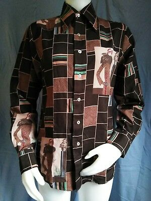 VINTAGE 1970s Novelty Print Button Down Dress Shirt CHEMISE ET CIE Foxy Lady SM