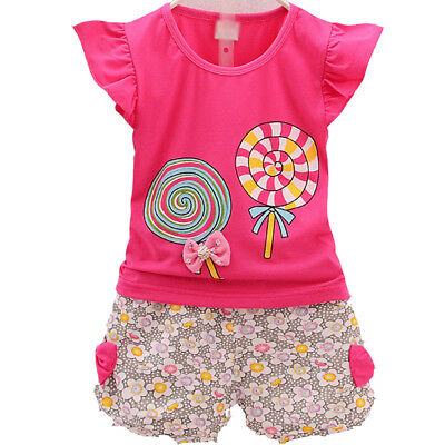 2pc Baby kids Girl Clothes Summer T-Shirt+Short Pants Girls Casual Outfits Bow