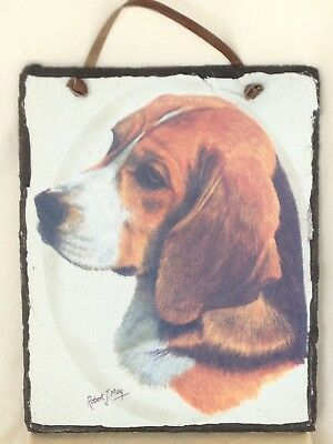 Robert J May 'Beagle' Handpainted Art which was Transferred to Slate: Wall Décor
