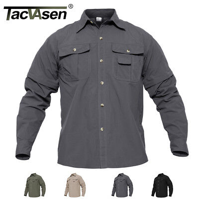 TACVASEN Mens Quick Dry UV Protective Shirts Sleeve Removable Hiking T-Shirt Top