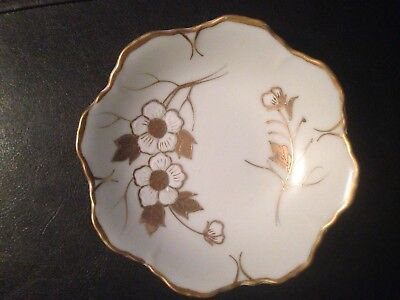 Arnart #7238 Round Gold Decorated Candy Dish Floral Design