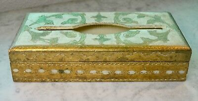 Florentine Toleware Gold Hand Painted Italy (Hollywood Regency) Wood Tissue Box
