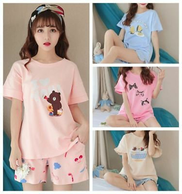 Women Sleepwear Cute Cartoon Pajama Sets Soft Short Sleeve Loungewear Homewear