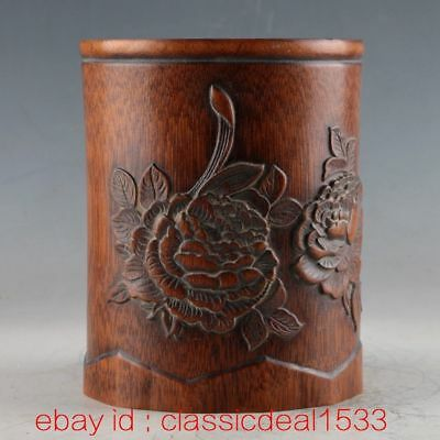 Natural Bamboo Handwork Carved Flower Brush Pot CC0001
