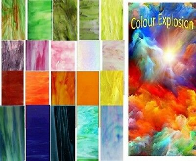 20 pc Pack - Rainbow Explosion Stained Glass Sheets