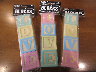 """Decorative Baby Wood Blocks Good For Baby Showers  - Crafts - Etc. """"love"""""""