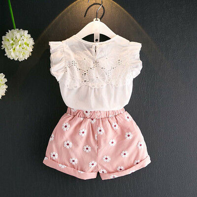 2PCS Toddler Kid Baby Girls Vest T-shirt Tops +Shorts Pants Outfits Clothes Set