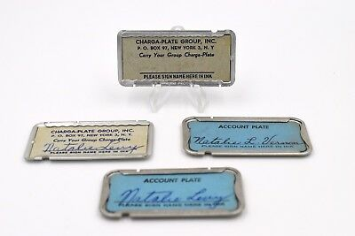 Lot of Four (4) Vintage Charga-Plate Credit Cards New York Address Credit Tokens