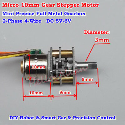 Mini 10mm 2-Phase 4-Wire DC 5V Full Metal Gearbox Gear Stepper Motor Precision