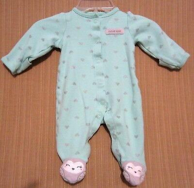 DARLING CARTERS Just One You size NEWBORN Sleeper Sleep n Play Green Gold Hearts