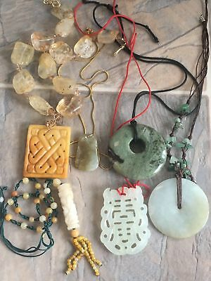 6 Vintage Chinese Jade Other Stone Necklaces Pendants Hand Carved Plaque Discs