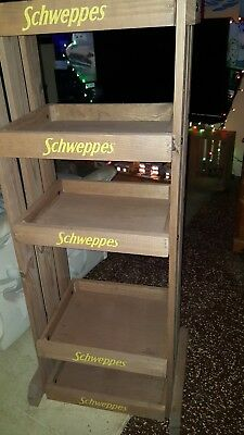 Schweppes Professional Heavy Duty Wooden Display Shelf-New- Almost 5 Ft Tall !!!