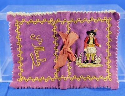 Antique Fabric Pin And Needle Sewing Book With Colonial Gentleman