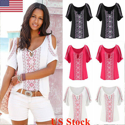 US Womens Boho Summer Cold Shoulder Loose Top Blouse Ladies V Neck Tops T-Shirt