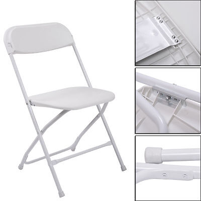 5 White Commercial Quality Stackable Plastic Folding Chair Wedding Party Chairs