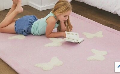 Pink Woollen Butterfly Rug  By Great Little Trading Company Childrens Bedroom