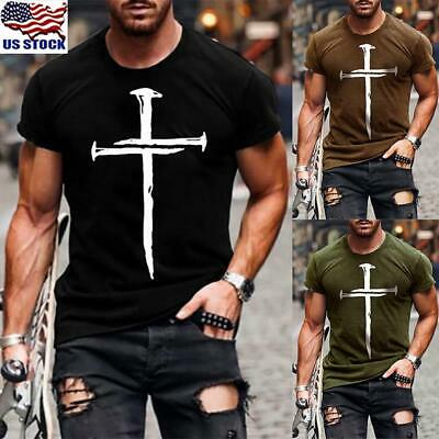 Mens Slim Fit Short Sleeve V Neck T-shirt Muscle Tee Shirts Casual Top Blouse US