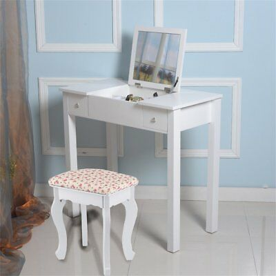 White Dressing Table Makeup Desk With Stool, 2 Drawers Fold Down Mirror  Bedroom