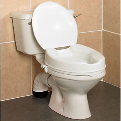 "4"" Savanah Raised Toilet Seat with Lid . Elevated Toileting Aid."
