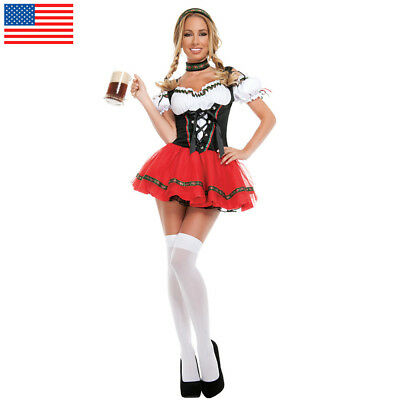 US STOCK Ladies Oktoberfest Wench Fancy Dress German Bavarian Beer Girl Costume
