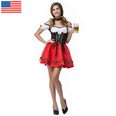 US STOCK Ladies Oktoberfest Fancy Dress Beer Maid Costume German Heidi Outfit