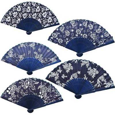 Classical Flower Blue Fabric Hand Fan with Dyed Bamboo Frame Wedding PartyFavor