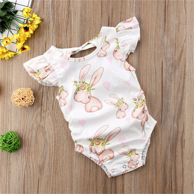 UK Newborn Infant Baby Girl Romper Rabbit Bodysuit Sunsuit Summer Clothes Outfit