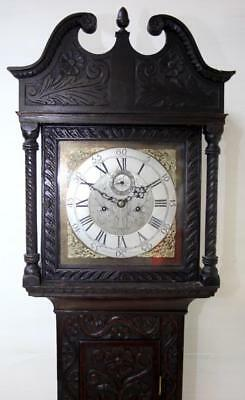 Antique English Longcase Clock Brass Dial Carved 8 Day Grandfather Clock 1760