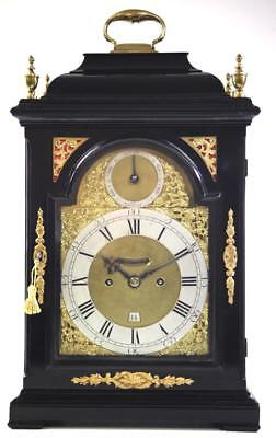 English London Twin Fusee Verge 8Day Bell Top Striking Bracket Clock Biddle 1750