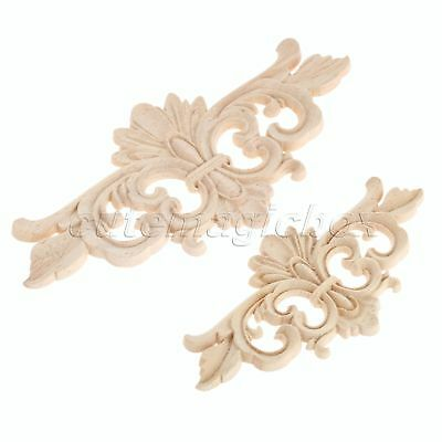 Wooden Wood Carved Corner Decal Onlay Applique Floral Furniture Decorative Craft