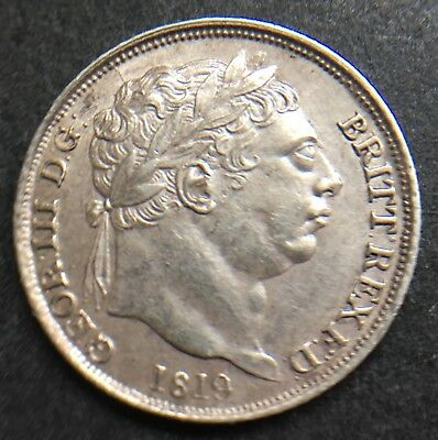 Rare Small 8 In Date King George Iii 1819 Sixpence Coin .925 Silver  Lot Ref 755