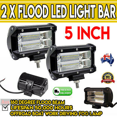 2x 5inch Flood LED Light Bar Offroad Boat Work Driving Fog Lamp Truck Scene 4x4