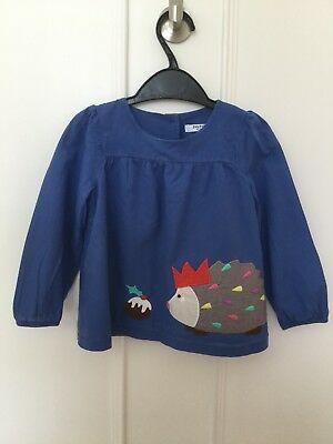 Little Girls Mini Boden Top. Blue. Hedgehog Design. Age 18-24 Months