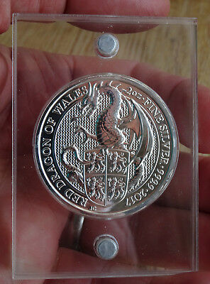 2016 999 Silver Bullion Queens Beast Dragon 2 Oz With Magnetic Perspex Case