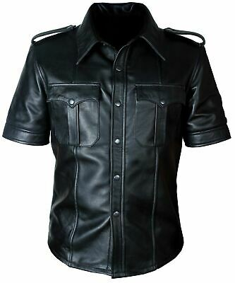 Mens Hot Real Sheep Leather Police Uniform Bluff Gay Shirt Black Red Brown Shirt