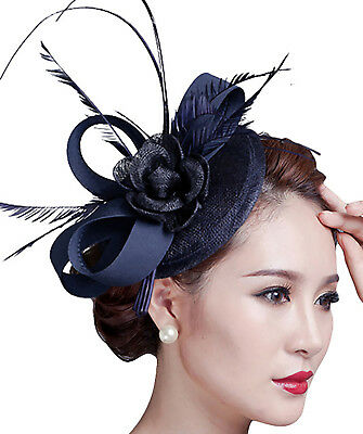Lady Fascinator Pillbox Feather Hat Cap Wedding Party Hair Clip Decorative