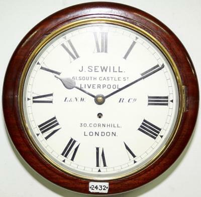 English Antique 8 Day J. Sewill Fusee Round Dial Station Public Wall Dial Clock