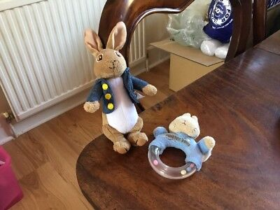 Peter Rabbit Soft Toy & Rattle Bundle.