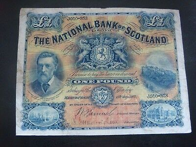 The National Bank Of Scotland: One pound, 15th May 1917