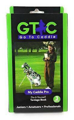 3 Pack of Golf Yardage Book, My Caddie Pro, Go To Caddie, 42 Page DIY Template