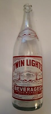 "Rare American (Rockport, Mass) ""twin Lights"" 32  Oz. Clear Bottle- Red/white Acl"
